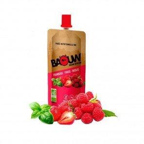 BAOUW Purée et compotes énergétiques bio | Framboise - Fraise - Basilic | Pack de 20
